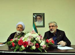 Mir Hossein Mussavi (rechts) und Mehdi Karrubi; Foto: www.sahamnews.org
