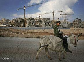 Ein Kind reitet auf einem Esel an jüdischen Siedlungen in Ostjerusalem vorbei; Foto: AP