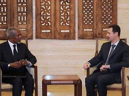 Treffen des Syrien-Sondergesandten Kofi Annan mit Syriens Präsident Baschar al-Assad; Foto: AP