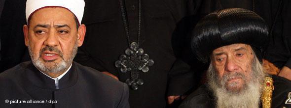 Papst Schenuda III. mit Ahmed al-Tayeb, Großscheich der islamischen Azhar-Universität; Foto: EPA/KHALED EL FIQI