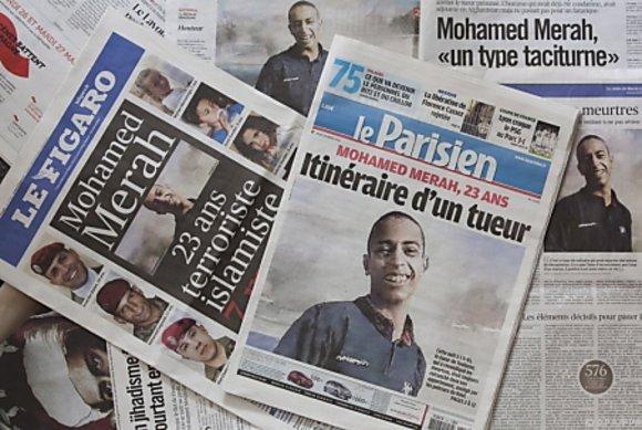 Mohamed Merah in französischen Zeitungen; Foto: EPA