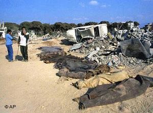 Opfer des Massakers von Sabra, bei Beirut, 24. 09.1982; Foto: AP