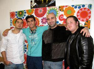 Ahmad Mansour (second from right) and activists from the