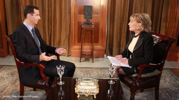 Baschar al-Assad im Interview mit dem amerikanischen TV-Sender ABC; Foto: ABC/AP/dapd