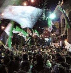 Nächtlicher Protest gegen Assad in Damaskus, April 2012; Foto: AP/dapd