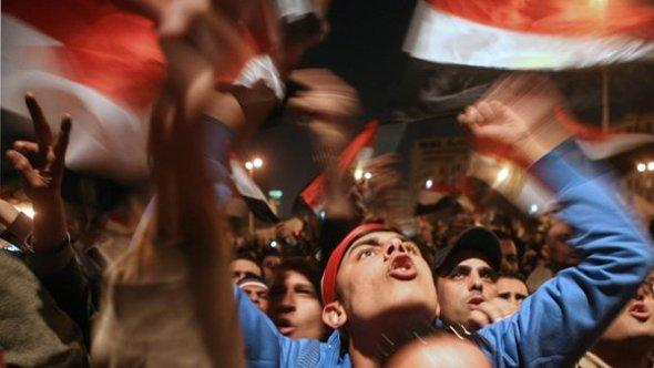 The scene on Tahrir Square in Cairo after Mubarak's resignation address on television (photo: EPA)