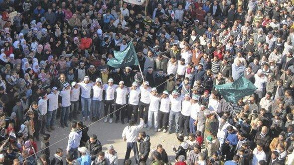 An anti-Assad demonstration in Baba Amr near Homs (photo: Reuters)