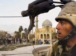 Sturz der Saddam-Statue im Zentrum Bagdad, Foto: AP