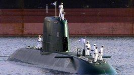 An Israel geliefertes U-Boot in Haifa; Foto: dpa