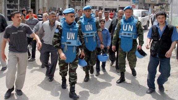 UN-Beobachter in Damaskus; Foto: EPA