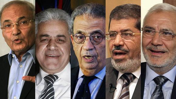 v l n r: Ahmed Shafik, Hamdeen Sabahi, Amr Moussa, Mohamed Mursi, Abdel Moneim Aboul Fotouh; Foto: Reuters