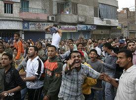 Textilstreiks in Mahalla El Kubra am 6. April 2008; Foto: AP