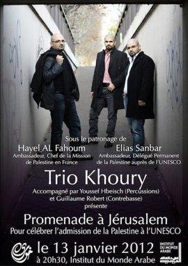 Poster des Trio Khoury für ein Konzert in Paris; Foto: PR