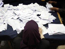 Stimmauszählung n in einem Wahllokal in Kairo; Foto: dpa