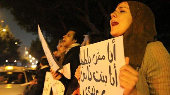 Protest von Aktivisten der Revolution vom 25. Januar 2011; Foto: Viktoria Kleber/DW