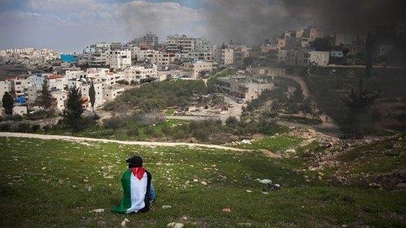 Proteste von Palästinensern am Tag des Bodens am 30. März 2012 bei Ostjerusalem; Foto: AP
