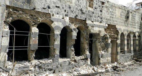 A shelled house in the Old Quarter of Homs (photo: AP)