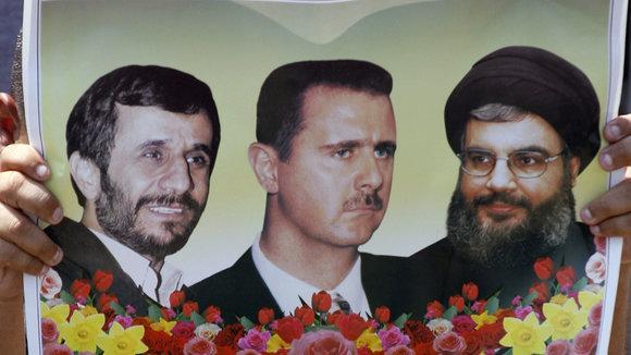 Irans Präsident Ahmadinedschad (l.), Syriens Präsident Assad und Hisbollah-Chef Nasrallah, Foto: AP