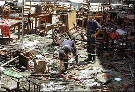Anschlag im Restaurant des spanischen Kulturhauses Casa de Espana in Casablanca am 17. Mai 2003; Foto: AP