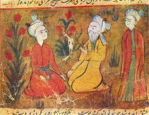 Amir Khusrow teaching his disciples; miniature from a manuscript of Majlis Al-Usshak by Husayn Bayqarah (image: Wikipedia/Creative Commons License)