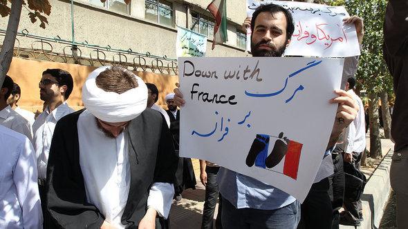 Demo gegen die Mohammed-Karikaturen in Teheran; Foto: AFP/GettyImage