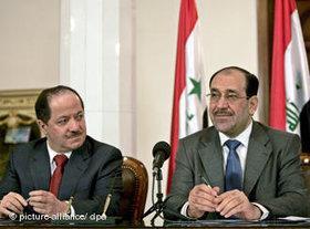 Der irakische Ministerpräsident Nouri al-Maliki (r.) und Massoud Barzani, Präsident der halbautonomen Kurden-Region, Foto: dpa/picture alliance