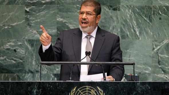 Mohammed Mursi während einer Rede bei den Vereinten Nationen in New York; Foto: dapd