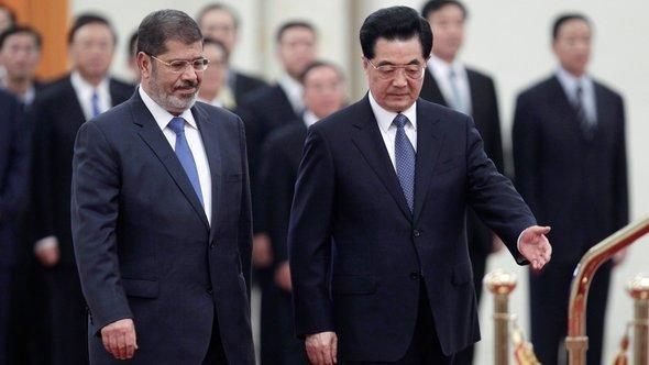 Ägyptens Präsident Mohammed Mursi und Chinas Staats- und Parteichef Hu Jintao in Peking; Foto: Reuters
