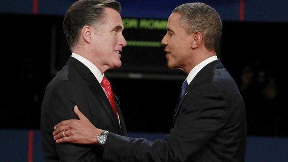 Präsidentschaftsrivalen Mitt Romney und Barack Obama; Foto: Michael Reynolds