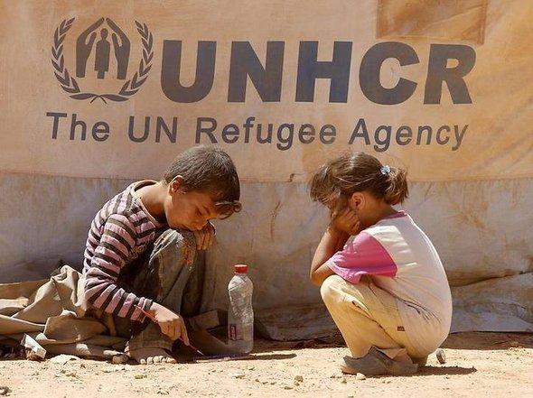 Syrische Kinder im jordanischen Flüchtlingscamp Zaatari; Foto: dpa