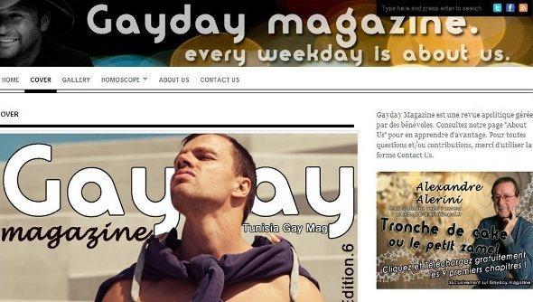 Screenshot der Website 'Gayday magazine', die sich für die Rechte von Schwulen einsetzt; Quelle: Gayday magazine