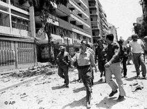 Unheeded lessons from history: Palestinian leader Yasser Arafat inspects the bomb damage in Beirut on 2 August 1982 following the heavy bombardment by Israel (photo: AP)