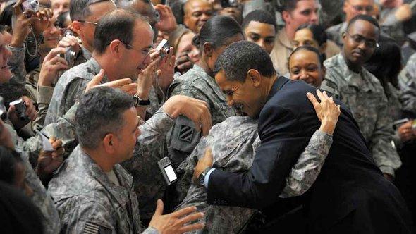 Besuch Obamas im Camp Victory bei Bagdad im April 2009, Foto: AFP