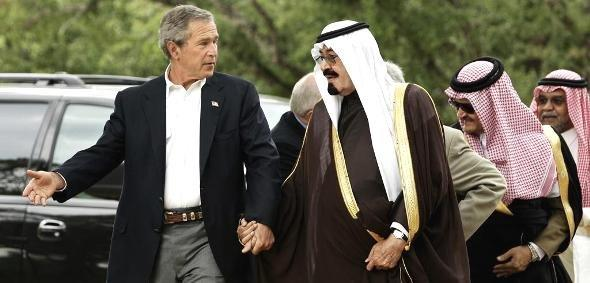 George W. Bush und Kronprinz Abdullah von Saudi-Arabien; Foto: AP