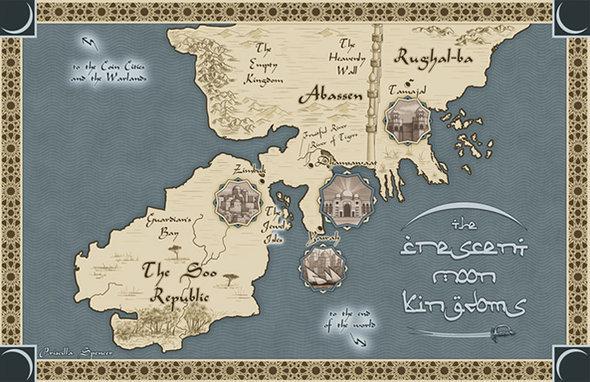 Karte fiktiver Königreiche in Throne of the Crescent Moon von Saladin Ahmed; Foto: © saladinahmed.com