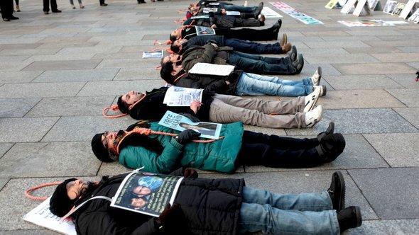 Protest von Exil-Iranern aus Köln gegen die Anwendung der Todesstrafe in ihrer Heimat; Foto: DW
