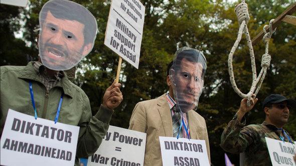 Dproteste gegen Ahmadinedschads Unterstützung für Assad im syrischen Bürgerkrieg, Foto: Reuters