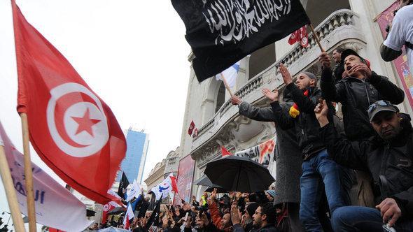 Demonstration von Unterstützern der Ennahda Partei am 9. Februar 2013; Foto: dpa