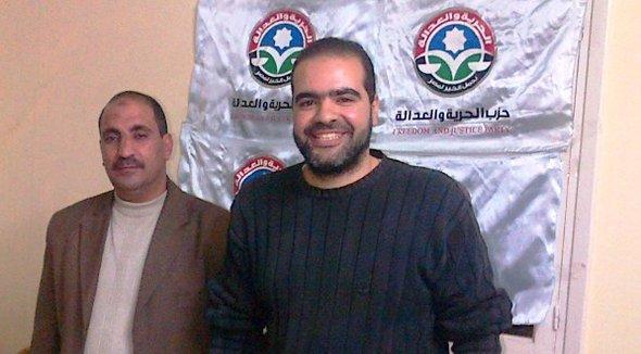 Ahmed Abdel Futuh (links) und Ahmed Ridan (rechts) von der ägyptischen FJP; Foto: Markus Symank