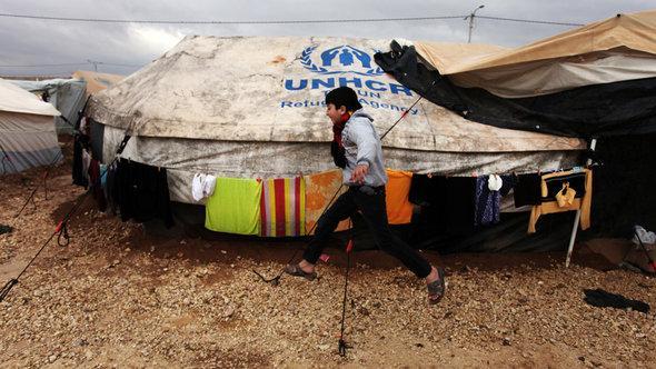 Syrisches Flüchtlingscamp Zaatari in Jordanien; Foto: AP