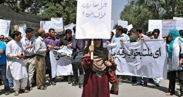 Demonstration gegen Gewalt gegen Frauen in Kabul; Foto: DW