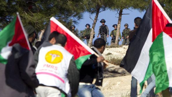 Palästinensische Aktivisten Bab al-Shams; Foto: A.Gharabli/AFP/Getty Images