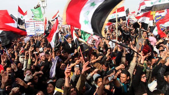 Protest von Sunniten in Falluja; Foto: picture-alliance/dpa