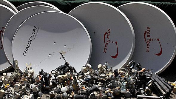 Beschlagnahmte Satellitenschüsseln in Teheran; Foto: MEHR