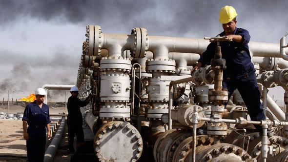 Erdölförderung in Rumaila bei Basra; Foto: AP