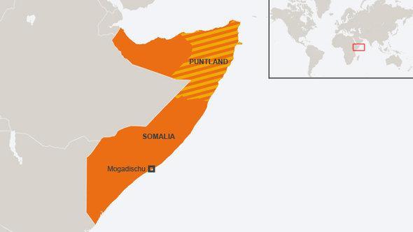 Karte Somalias mit der Region Puntland; Foto: DW