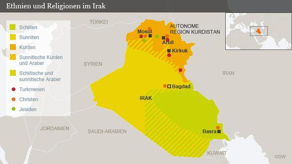 Infografik: Ethnien und Religionen im Irak (Foto: DW)