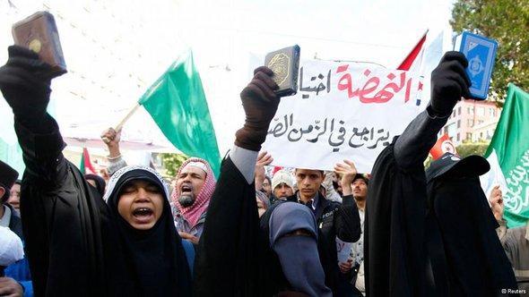 Islamisten demonstrieren in Tunis; Foto: Reuters