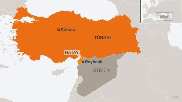 Karte zeigt Anschlagsort im Südosten der Türkei; Foto: DW