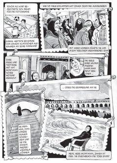 Ausschnitt aus der deutschen Ausgabe von Zahra's Paradise; Foto: Khalil Amir / Knesebeck Verlag